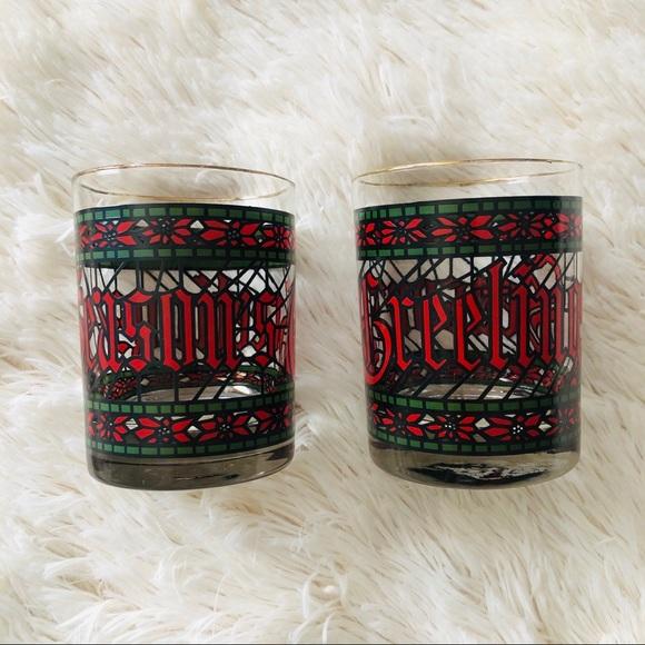HOUZE Christmas Lowball Glasses Mid-Century Modern